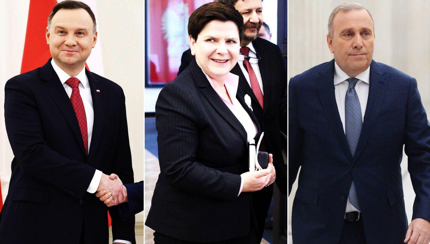 Andrzej Duda, Beata Szydło i Grzegorz Schetyna (fot. PAP/ Leszek Szymański/arch.PAP/ Leszek Szymański)/PAP/Jakub Kamiński)