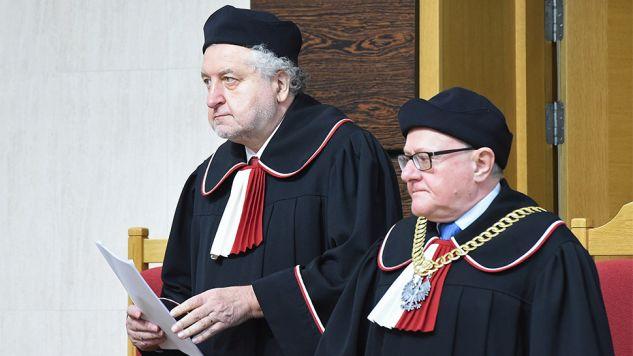 Stanisław Biernat i Andrzej Rzepliński (fot.PAP/Radek Pietruszka)