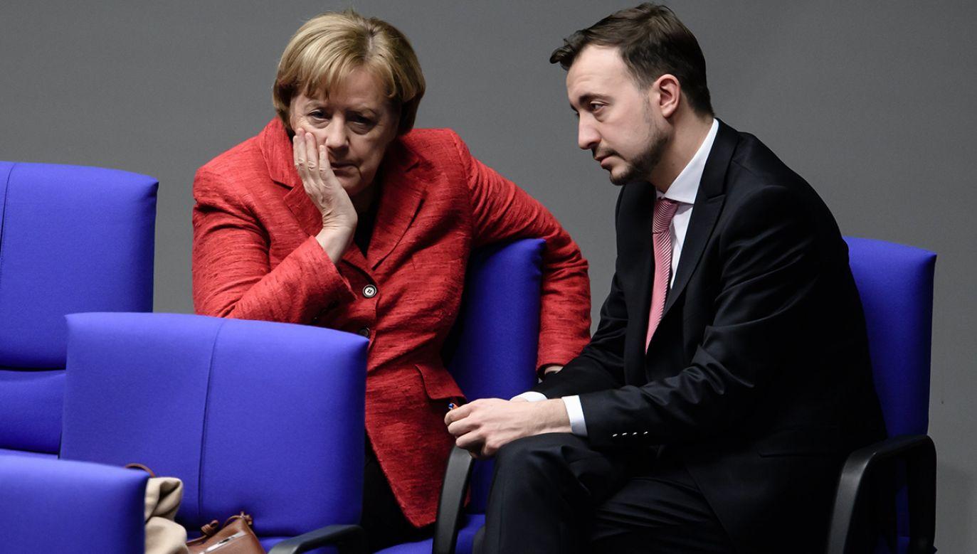 Angela Merkel i Paul Ziemiak (fot. PAP/EPA/CLEMENS BILAN)