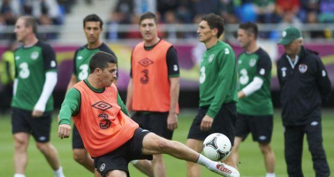 Shane Long podczas treningu reprezentacji Irlandii (fot. PAP/Adam Warżawa)