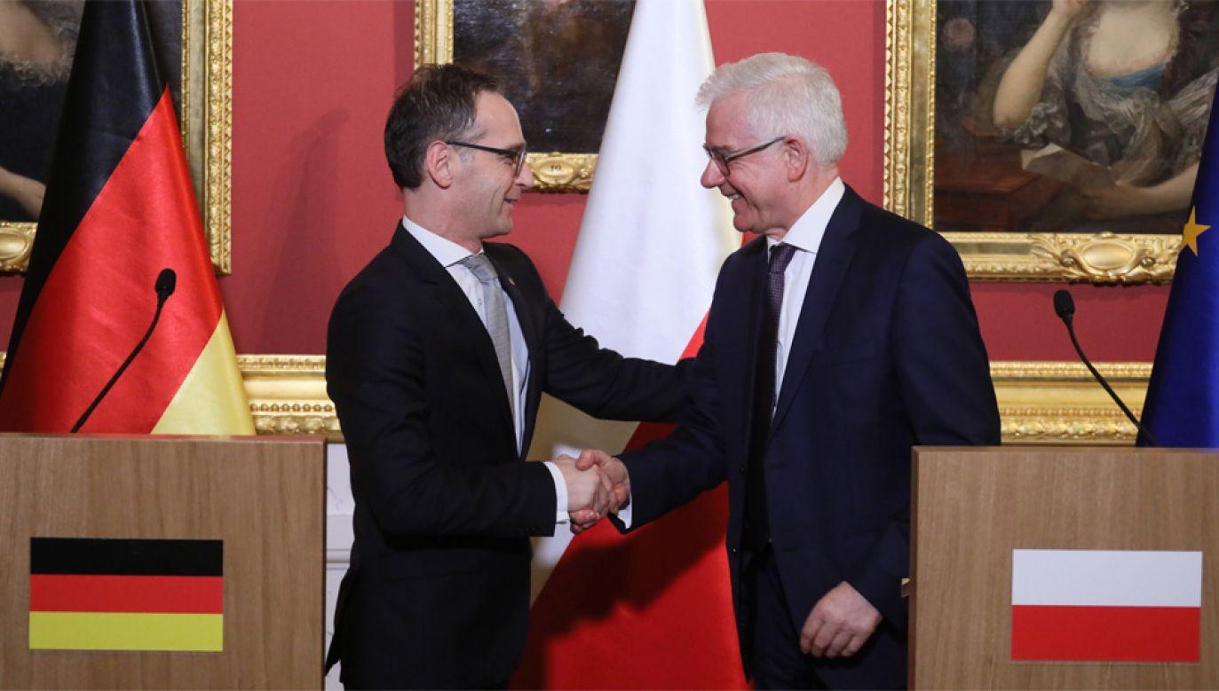 Heiko Maas i prof. Jacek Czaputowicz rozmawiali m.in. o potrzebie ożywienia Trójkąta Weimarskiego (fot. PAP/Paweł Supernak)