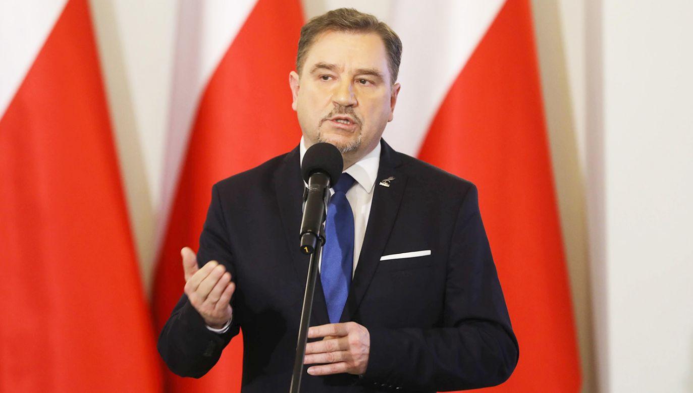 """Przewodniczący NSZZ """"Solidarność"""" Piotr Duda (fot. arch.PAP/Rafał Guz)"""