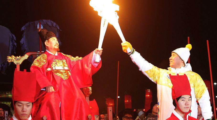 Znalezione obrazy dla zapytania ceremonia otwarcia igrzysk  w Pjongczangu znicz zapłąnął