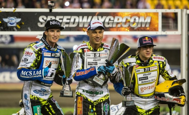 Podum GP w Toruni: Jason, Doyle, zwycięzca Nicki Pedersen i Maciej Janowski (fot. PAP/Tytus Żmijewski