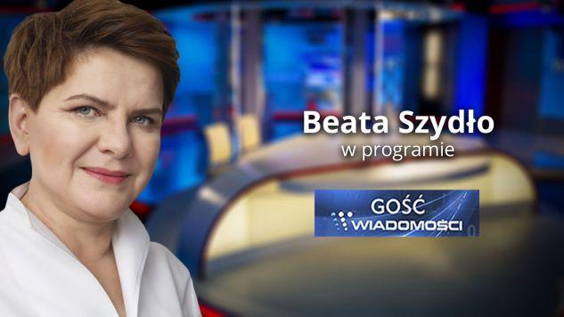 """Beata Szydło w """"Gościu Wiadomości"""" (fot. TVP Info)"""