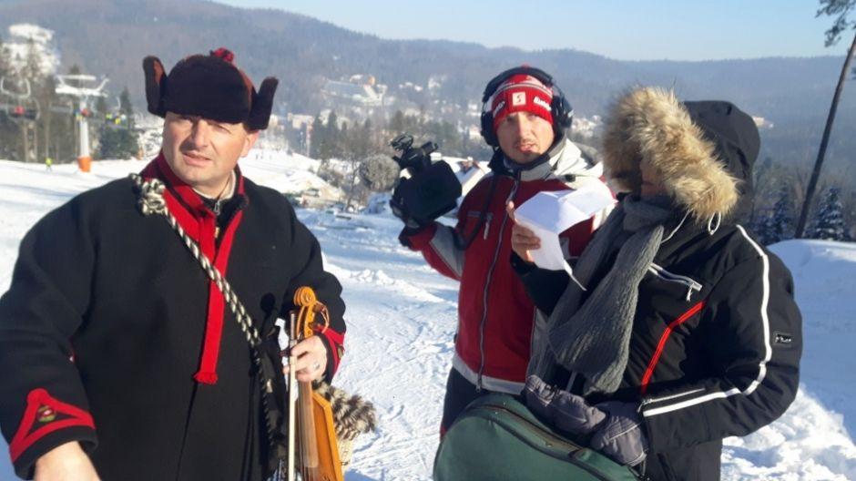 Bartek Koszarek-Benkowy, Maciej Dźwigaj i Katarzyna Kotula na planie Ślizgu  (fot. mmas)