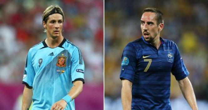 Mecz Hiszpania - Francja będzie pojedynkiem wielkich gwiazd: Fernando Torresa i Francka Ribery'ego (fot. Getty Images)