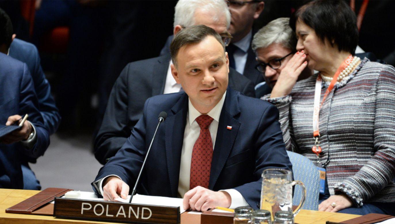 Prezydent Andrzej Duda podczas debaty w RB ONZ (fot. PAP/Jacek Turczyk)