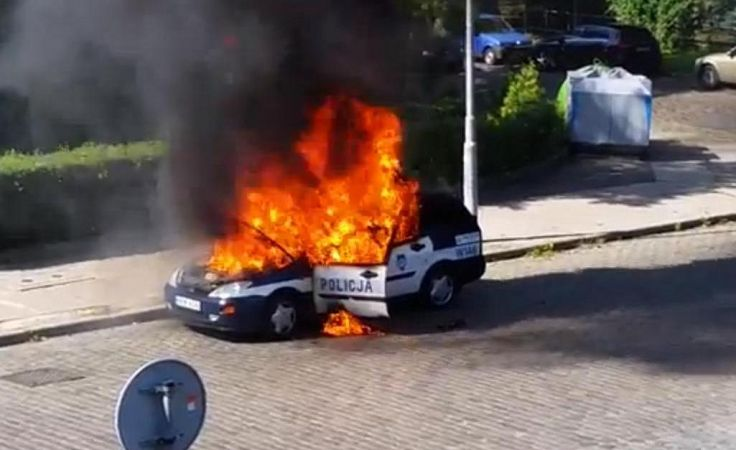 Spłonął radiowóz