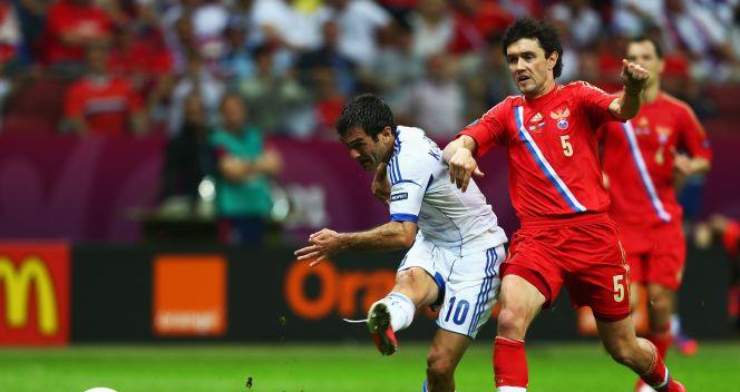Grecy wyszli na prowadzenie w 45. minucie meczu (fot. Getty Images)