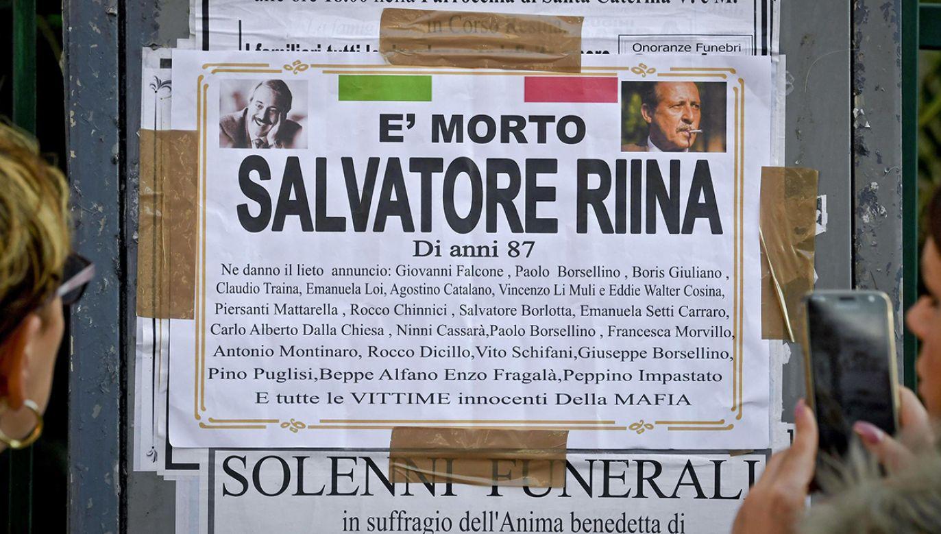 Nekrolog bossa cosa nostry Toto Riiny (fot. PAP/EPA/CIRO FUSCO)