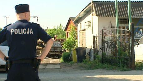 Policja w tartaku przy ul. Ujejskiego w Bydgoszczy