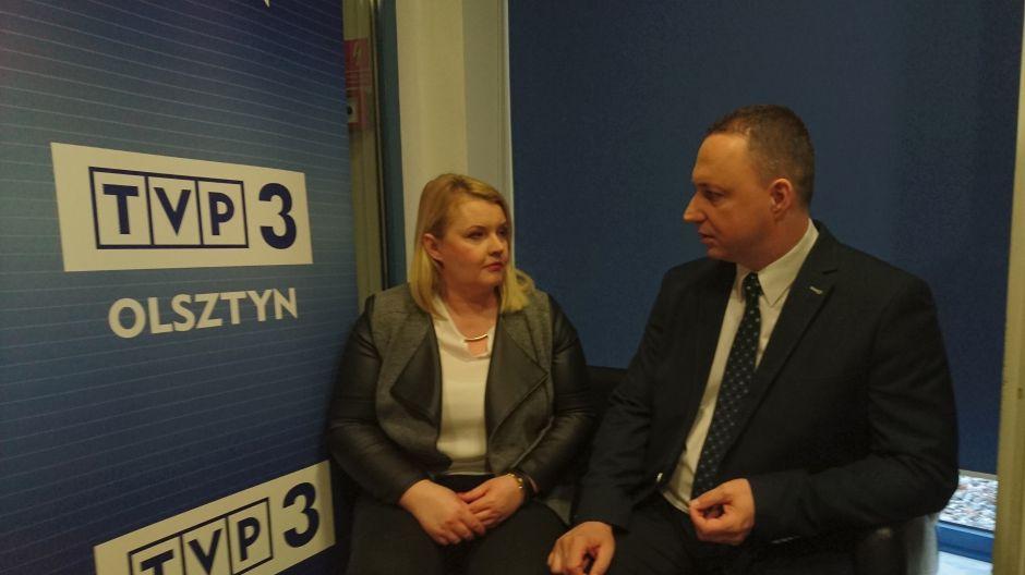 Monika Trzcińska, burmistrz Braniewa oraz Grzegorz Smoliński, prezes Warmińsko-Mazurskiej Specjalnej Strefy Ekonomicznej