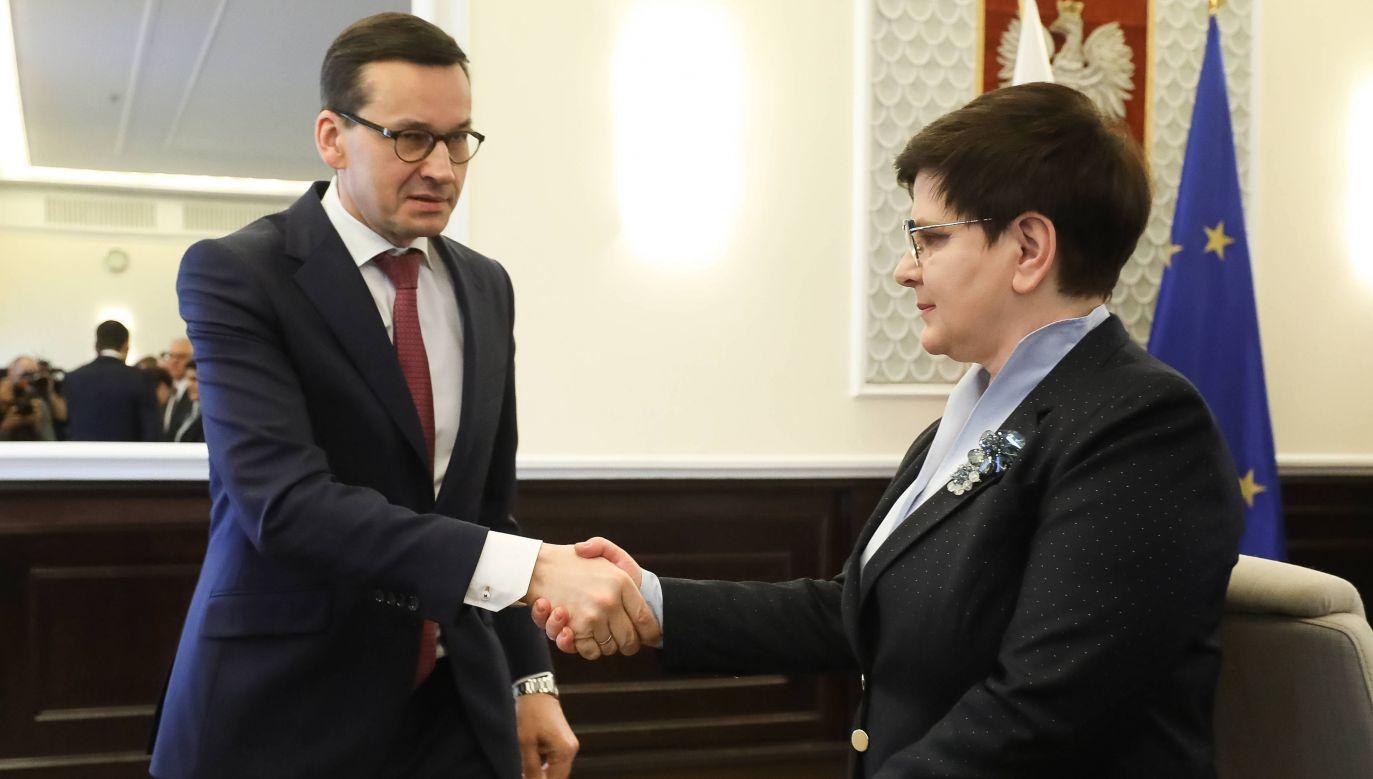 Premier Mateusz Morawiecki i wicepremier Beata Szydło (fot. arch. PAP/Paweł Supernak)