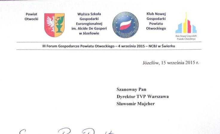 Podziękowania dla TVP Warszawa od Wyższej Szkoły Gospodarki Euroregionalnej