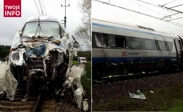 Osiemnaście osób rannych w wyniku zderzenia ciężarówki z pendolino (fot.Twoje Info)