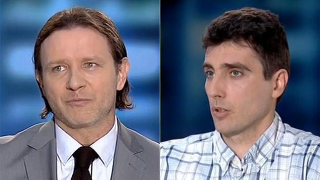 """Radosław Majdan i Maciej Kaliszuk byli gośćmi programu """"Po przecinku"""" (fot. TVP Info)"""