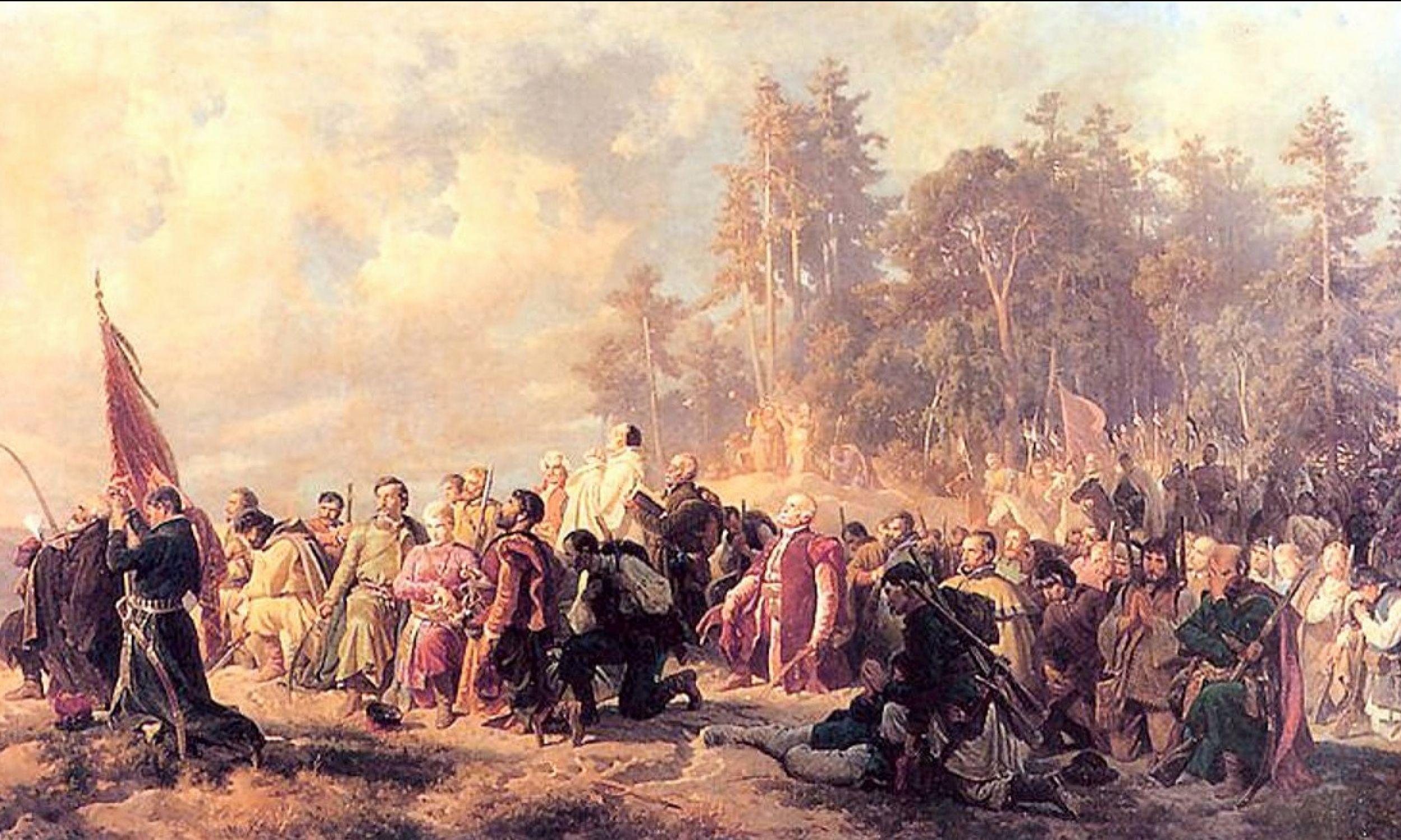 Artur Grottger, obraz Modlitwa konfederatów barskich przed bitwą pod Lanckoroną