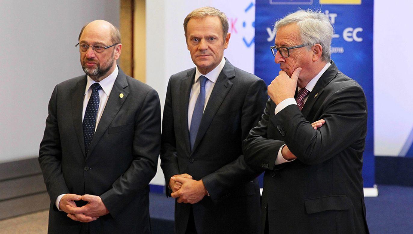 Martin Schulz (L), Donald Tusk (C), Jean-Claude Juncker(P) (fot. Dursun Aydemir/Anadolu Agency/Getty Images)