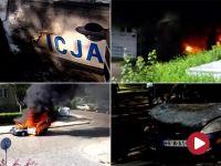 Płonący radiowóz stoczył się z ulicy i wpadł do ogrodu różanego w Szczecinie