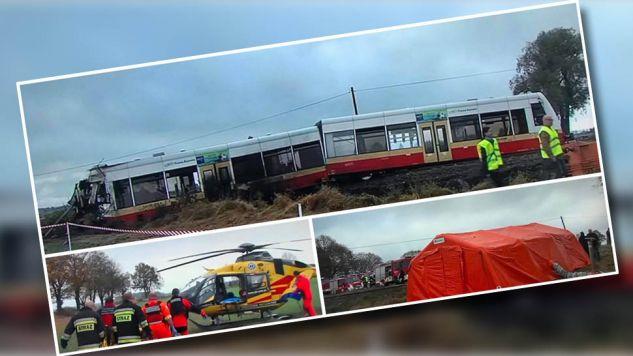 15 osób poszkodowanych, w tym 4 ciężko, po zderzeniu szynobusu ze śmieciarką w okolicach Człuchowa (fot. twitter.com/RadioGdansk)