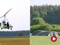 Wiatrakowiec roztrzaskał się o ziemię. Pilot maszyny zginął na miejscu