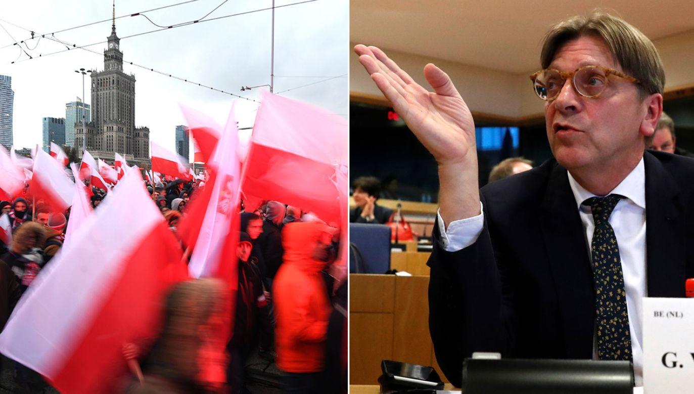 W wystąpieniu w PE Verhofstadt nazwał uczestników Marszu Niepodległości faszystami (fot. PAP/Bartłomiej Zborowski/REUTERS/Yves Herman)