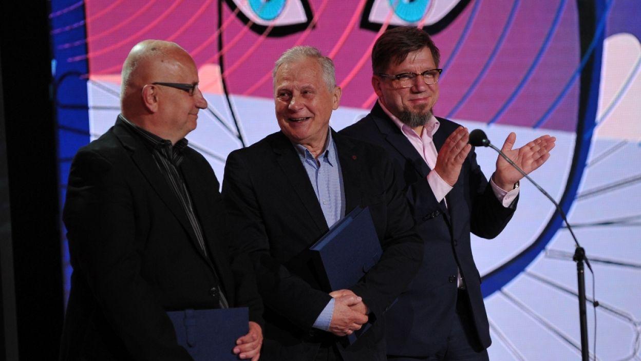 Nagrodę im. Ireny i Tadeusza Byrskich, za spektakle wykorzystujące potencjał miejscowego środowiska artystycznego, otrzymali Jerzy Janusz Fąfara oraz Sylwester Woroniecki (fot. N. Młudzik/TVP)