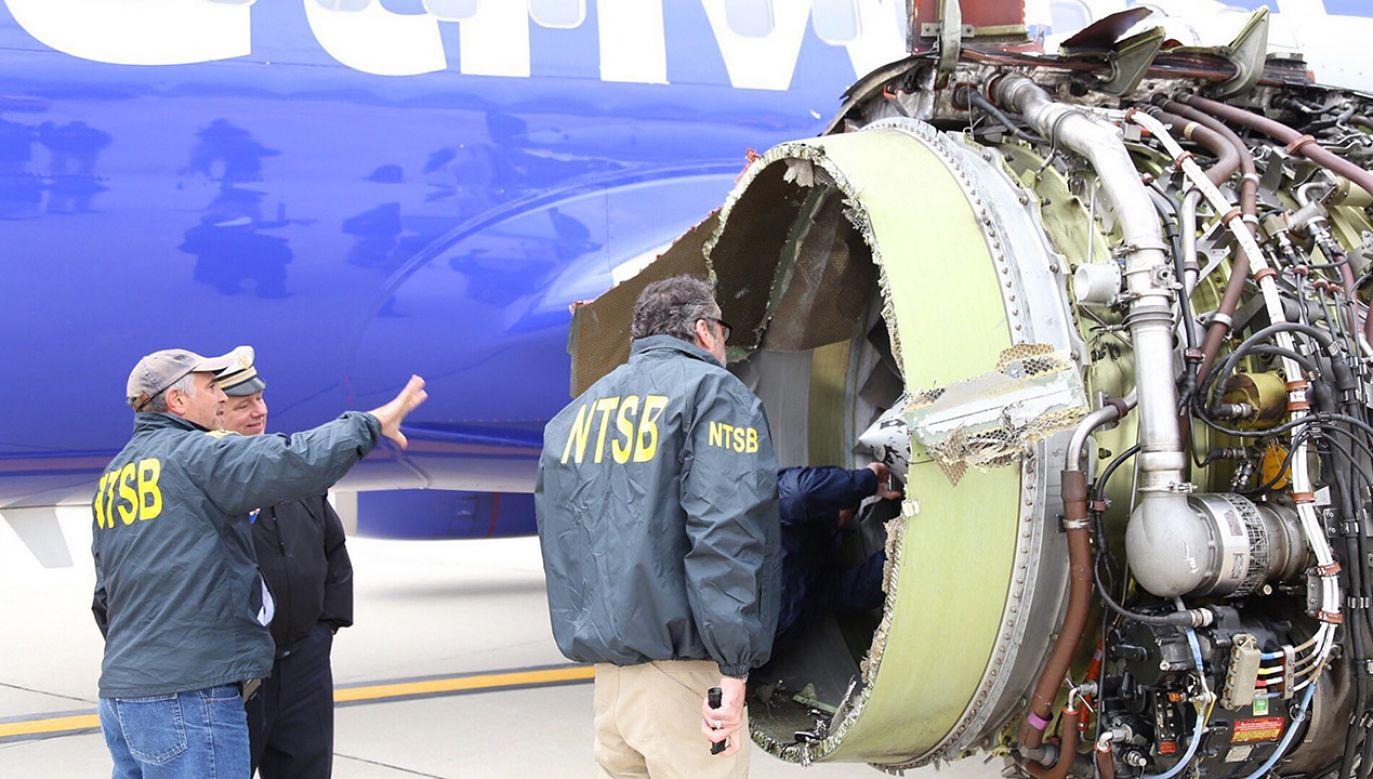 Eksplozja była spowodowana brakiem skrzydeł wentylatora silnika (fot. PAP/EPA/NTSB HANDOUT)