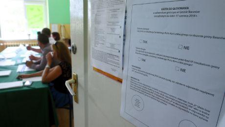 Fot: Karta do głosowania w referendum w sprawie budowy Centralnego Portu Komunikacyjnego. w Baranowie. Fot: PAP/Jacek Turczyk