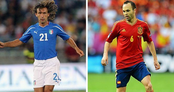 Andres Iniesta (P) i Andrea Pirlo powalczą o kolejny sukces w drużynie narodowej  (fot. Getty Images)