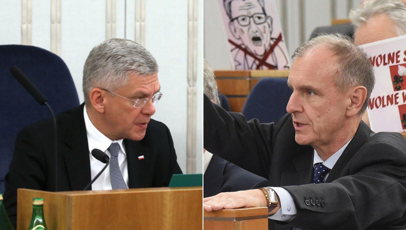 Marszałek Stanisław Karczewski  (L), senator PO Bogdan Klich (P) (fot. PAP/Rafał Guz , Radek Pietruszka)