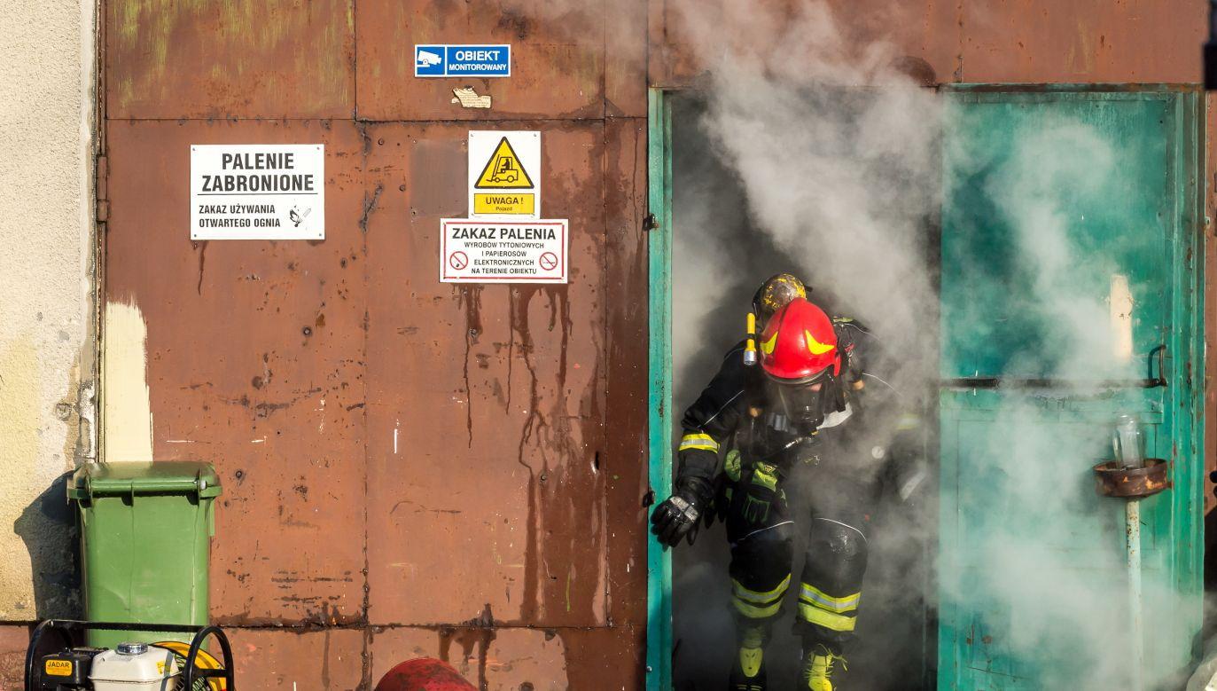 Akcja gaszenia pożaru magazynu ze zniczami w Małej Nieszawce k. Torunia (fot. PAP/Tytus Żmijewski)