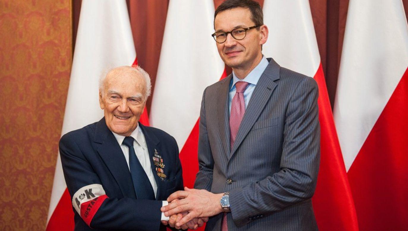 Premier Mateusz Morawiecki spotkał się z ppłk Jerzym Majkowskim ps. Czarny (fot. Twitter/KPRP)