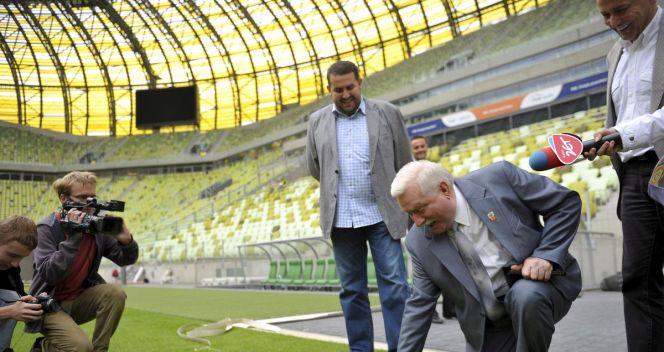 PGE Arenę sprawdził sam prezydent Lech Wałęsa (fot. PAP)