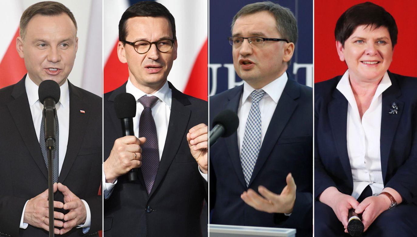 Na czele rankingu zaufania są Andrzej Duda, Mateusz Morawiecki, Zbigniew Ziobro i Beata Szydło (fot. PAP/Marcin Obara / W.Pacewicz / R.Guz / G.Momot)