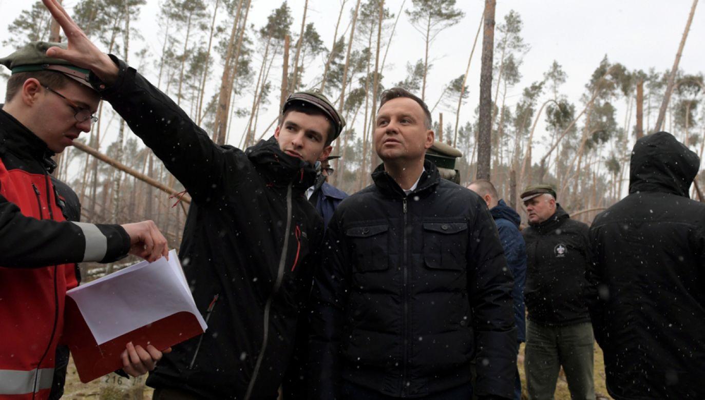 Prezydent Andrzej Duda (3L) i harcerze obok miejsca, gdzie znajdował się obóz harcerski, w którym zginęły dwie przygniecione drzewami harcerki (fot. PAP/Adam Warżawa)