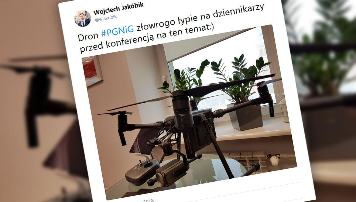 Dron PGNiG (fot. tt/@wjakobik)
