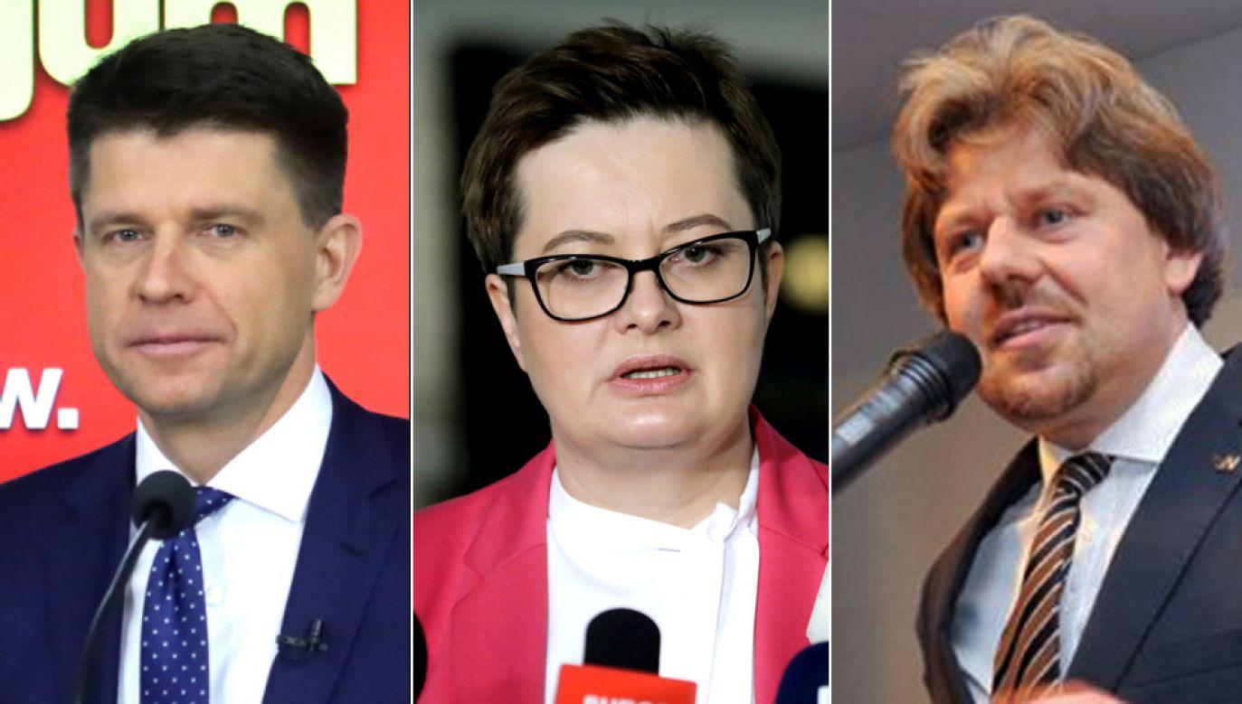 Ryszard Petru (L), Katarzyna Lubnauer (C)  oraz Piotr Misiło (P) powalczą o fotel lidera Nowoczesnej (fot. PAP/Tomasz Gzell, Marcin Bielecki)