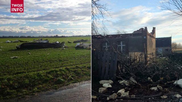Trąba powietrzna nad Wielkopolską. Pozrywane dachy i zniszczone budynki gospodarcze