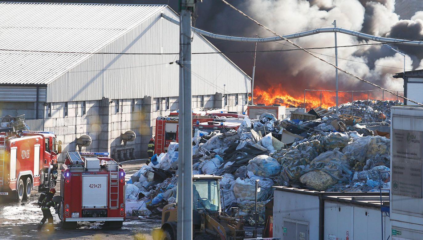 Płonie składowisko odpadów (fot. PAP/Andrzej Grygiel)