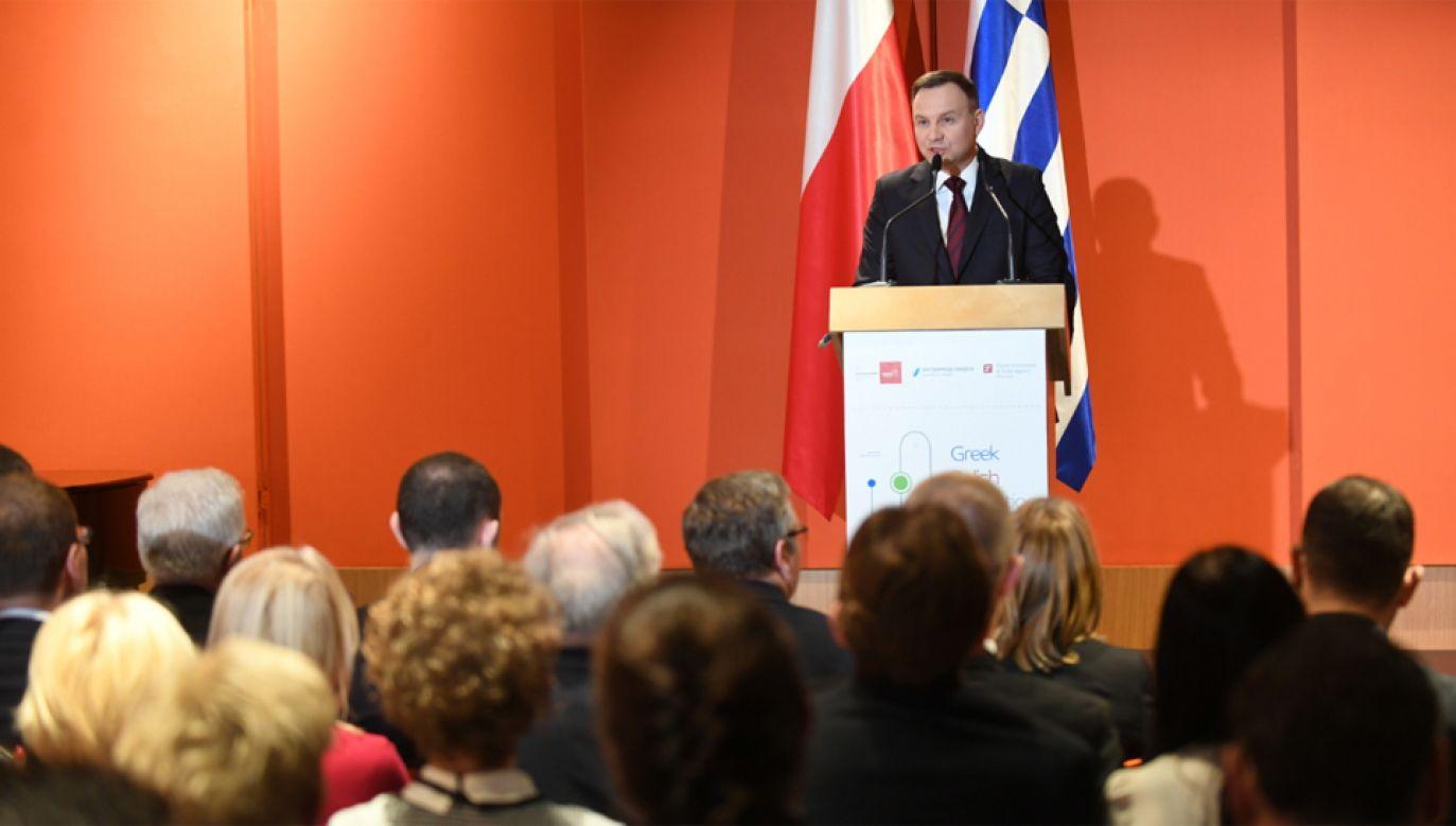 Prezydent Andrzej Duda podczas Grecko-Polskiego Forum Innowacji i Zielonych Technologii w Atenach (fot. PAP/Bartłomiej Zborowski)