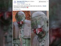 Zatrzymano mężczyznę, który oblał farbą pomnik Jana Pawła II