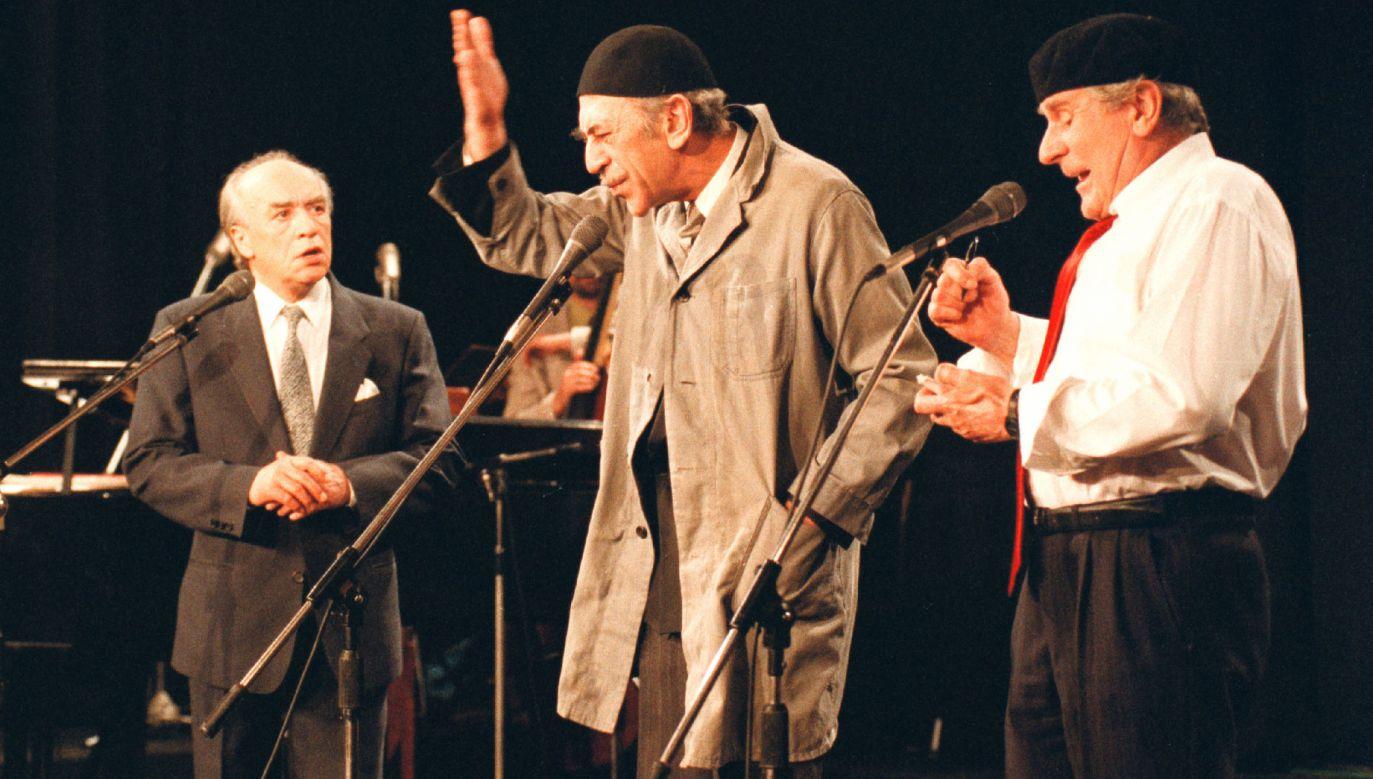 Kabaret Dudek po latach, 1994 rok. Od lewej: Wiesław Michnikowski, Jan Kobuszewski, Wiesław Gołas. Fot. arch. TVP