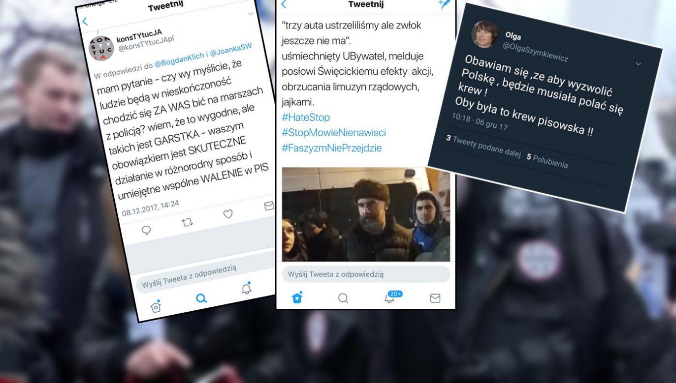 Policja publikuje część przykładów z Twittera (fot. Twitter.com, TVP Info)