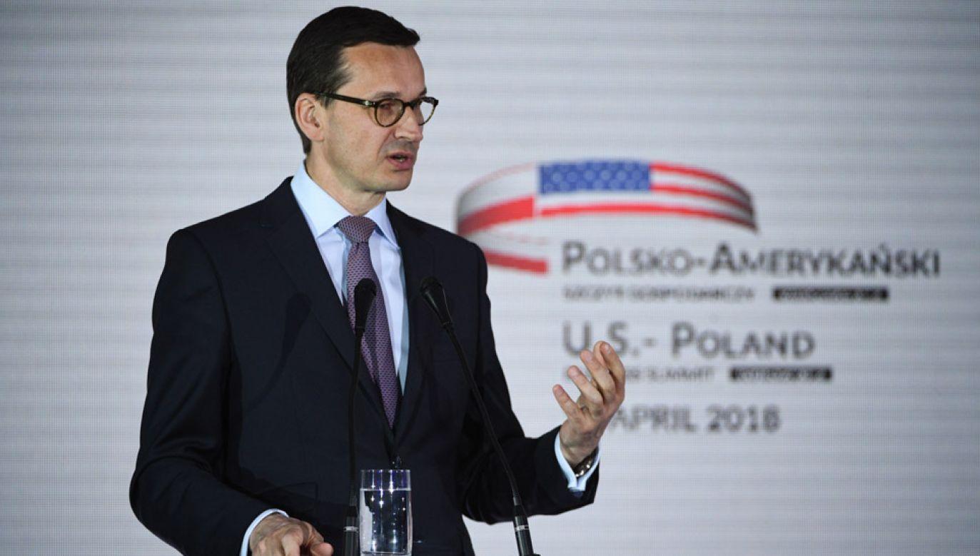 Premier Mateusz Morawiecki podczas Polsko-Amerykańskiego Szczytu Gospodarczego 2018 (fot. PAP/Jacek Turczyk)