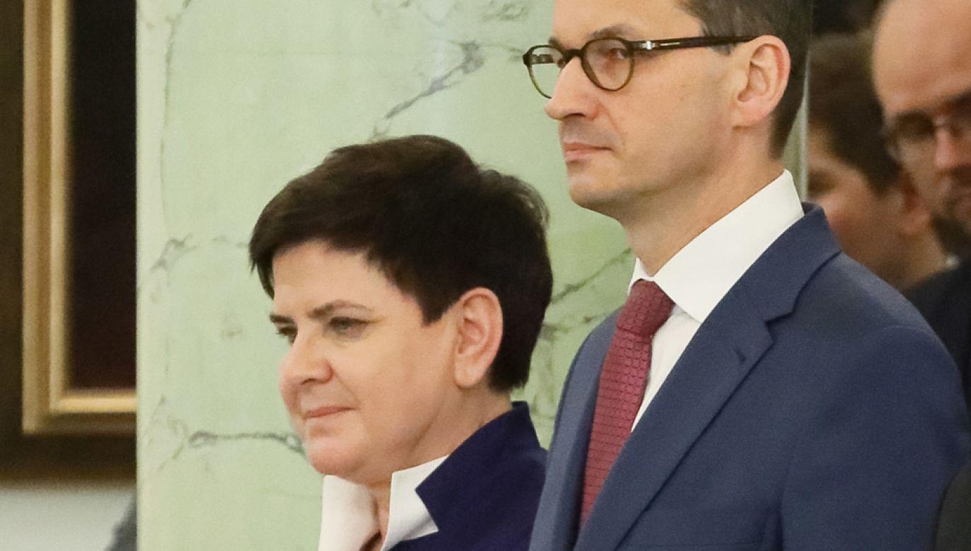 Była premier Beata Szydło (L) i desygnowany na premiera Mateusz Morawiecki  (fot. PAP/Paweł Supernak)