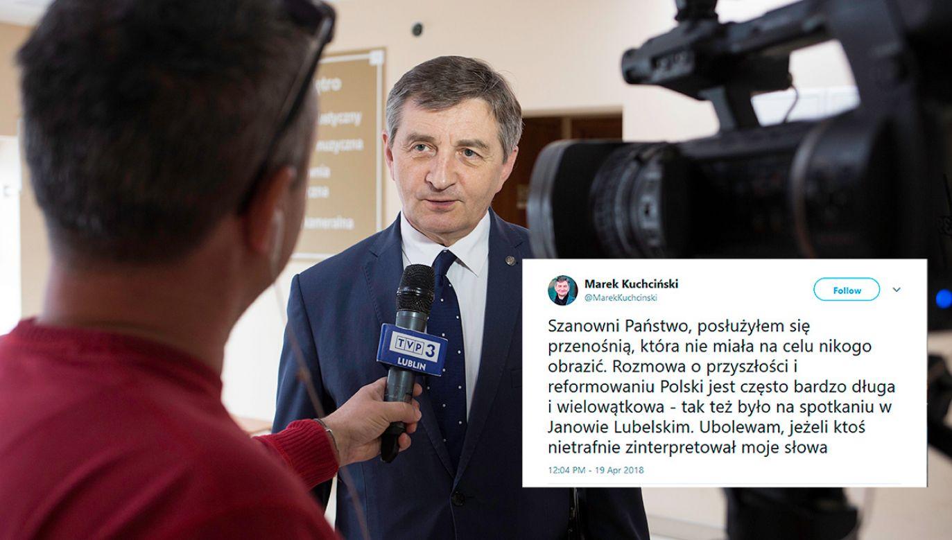 Marszałek Sejmu Marek Kuchciński udziela wywiadu przed spotkaniem z wyborcami w Janowskim Ośrodku Kultury (fot. PAP/Wojciech Jargiło)
