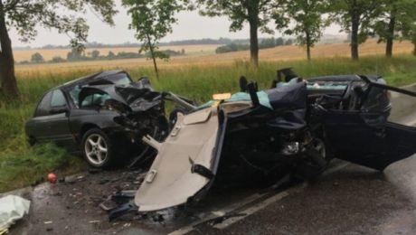 Śmiertelny wypadek trasie Kętrzyn -Garbno (fot. KWP Olsztyn)