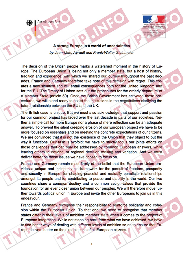 Kopie dokumentu o dohodě Francie s Německém o zrušení svobody členských státu EU ve prospěch Bruselu